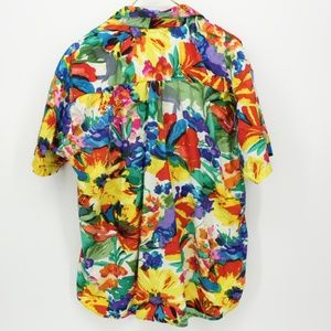 Vintage Tops - Vintage Super Bright Colorful Hawaiian Shirt